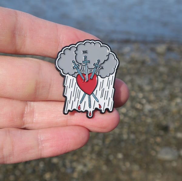 Three of Swords Enamel Tarot Pin