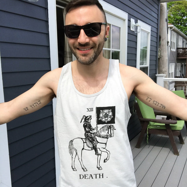 Death on Horsey Men's/UnisexTank Top Light Gray/Silver Next Level Brand