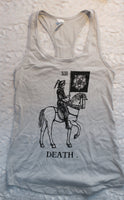 Death on Horsey Ladies' Tank Top Light Gray/Silver Next Level Brand Racerback