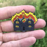 The Witch House on Fire Enamel Pin