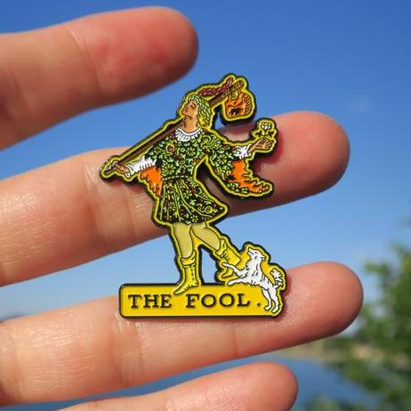 The Fool - Yellow, Grey & Brown backgrounds - Enamel Tarot Pin