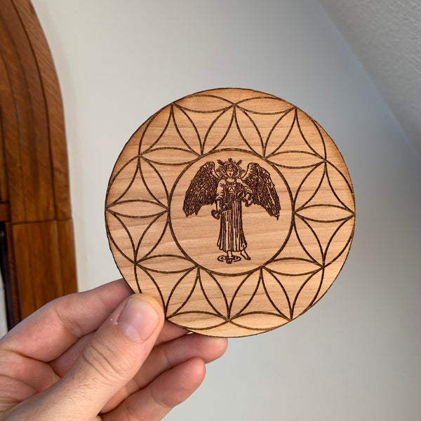 Wooden Crystal Grid - Temperance