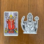 Transparent Vinyl Sticker of The Hierophant - Black lines