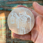 Engraved Selenite Circular Charging plate - The Hermit portrait
