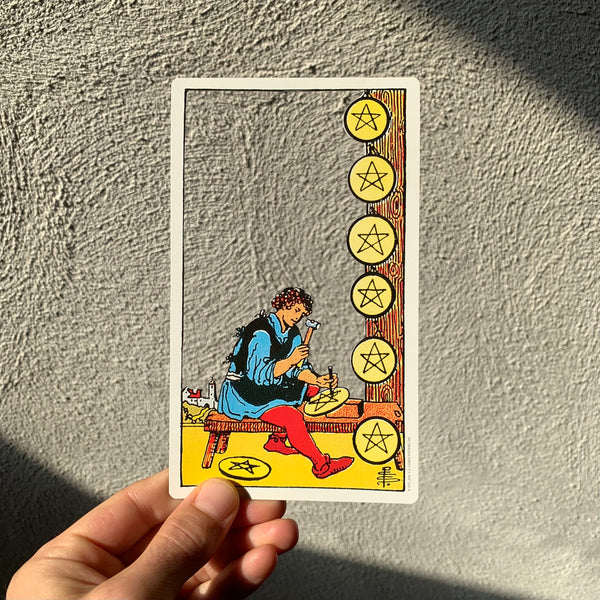 Tarot Card Cut Out - Eight of Pentacles