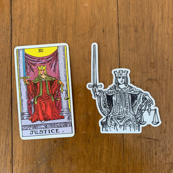 Transparent Vinyl Sticker of Justice - Black lines