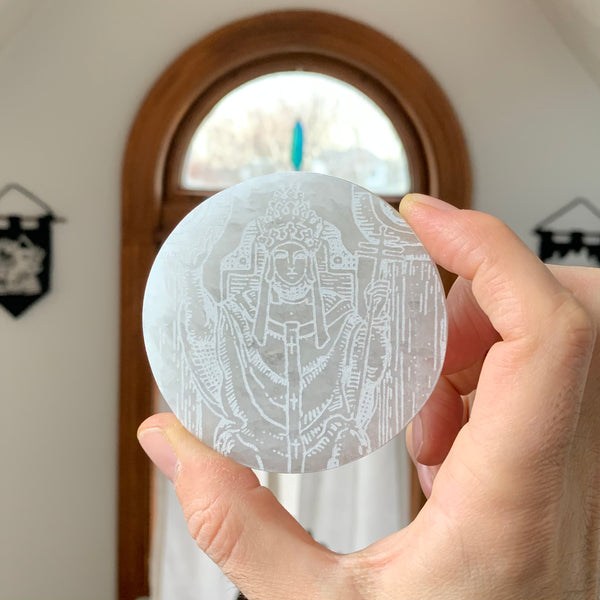 Engraved Selenite Circular Charging plate - The Hierophant