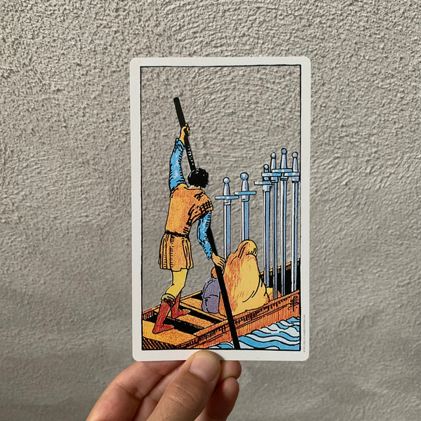 Tarot Card Cut Out - Six of Swords