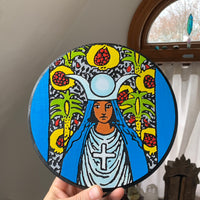 Hand painted High Priestess portrait on wood