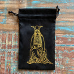 Black/Gold Velvet Tarot Bag for Standard size decks - The High Priestess