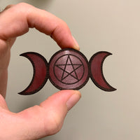 Burgundy Leather barrette - Triple Moon w/ pentagram
