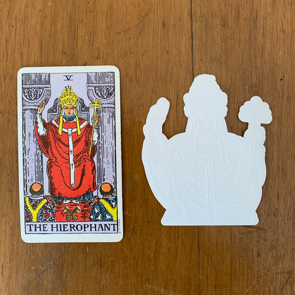 Transparent Vinyl Sticker of The Hierophant - White lines