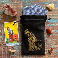Black/Gold Velvet Tarot Bag for Standard size decks - Strength
