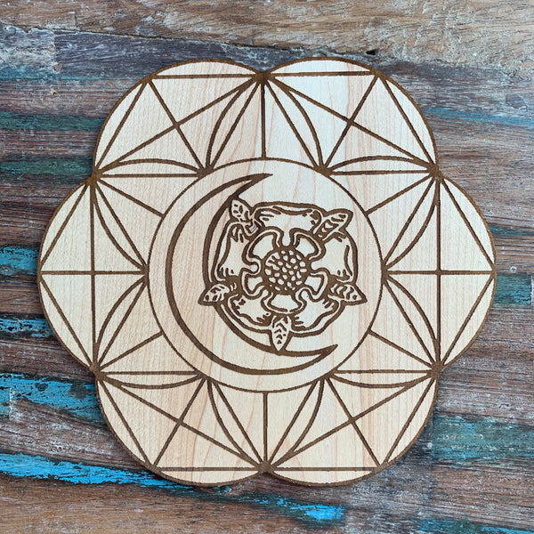 Wooden Crystal Grid - Death Flower Moon