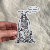 Transparent Vinyl Sticker of Bitch Please High Priestess - Black lines