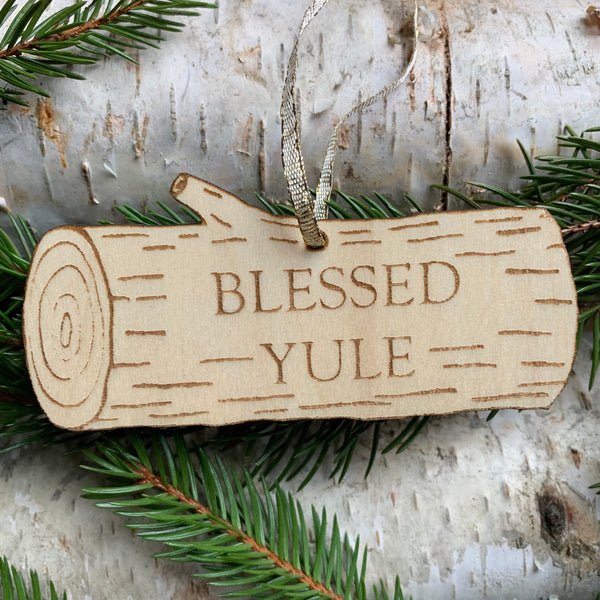 Engraved wooden Ornament - Blessed Yule