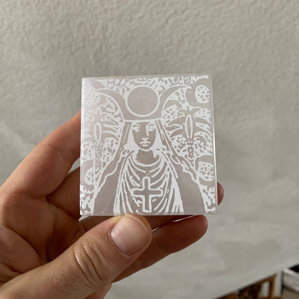 Engraved Selenite Square Charging plate - High Priestess portrait