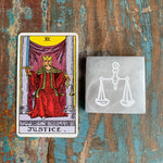 Engraved Selenite Square Charging plate - Justice scales