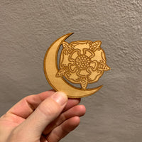 Wooden Tarot Magnet - Death Flower Moon