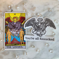 Transparent Vinyl Sticker of You're all fuuucked Angel - Black lines