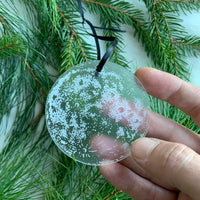 Engraved frosted acrylic Ornament - Full Moon w/ black ribbon