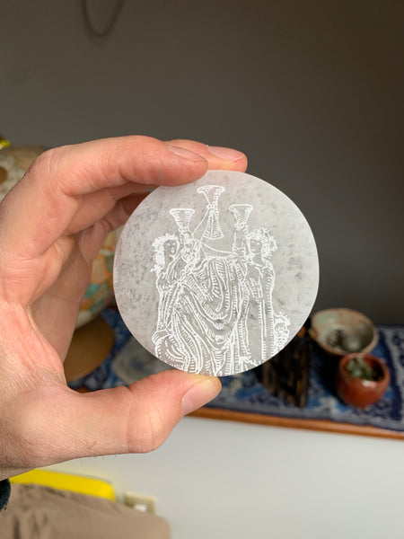 Engraved Selenite Circular Charging plate - Three of Cups