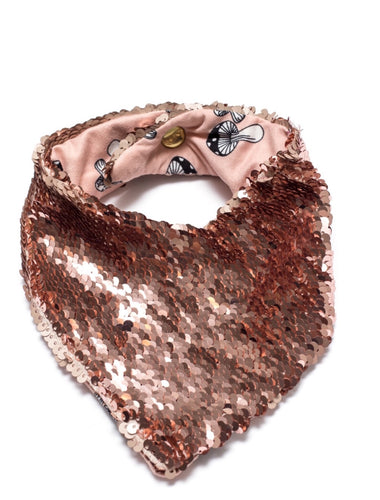 Rose Matte and Rose Shiny Reversible Flip Sequin Pet Bandana.