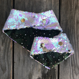 Pine and Ice Holiday Flip Sequin Pet Bandana
