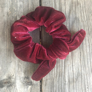Antique Red Velvet Scrunchie with Ribbon
