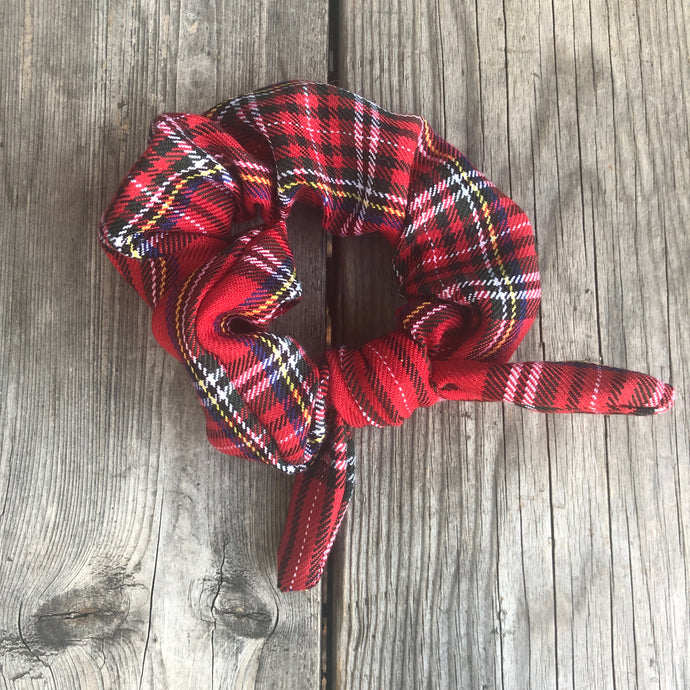 Red Plaid Scrunchie with Ribbon