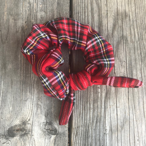 Red Plaid Holiday Scrunchie with Ribbon
