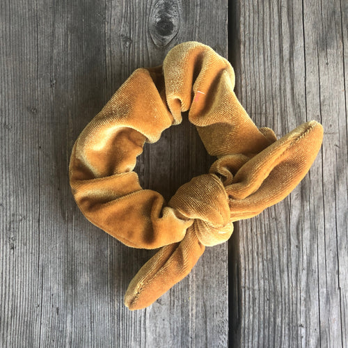 Antique Yellow Velvet Scrunchie with Ribbon