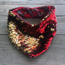 Holiday Red and Gold Sequin Pet Bandana. Reversible, custom design, tailored fit.