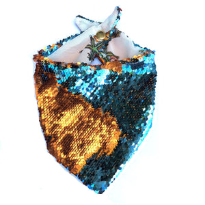 Turquoise and Russet Flip Sequin Pet Bandana