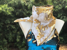 White and Gold Flip Sequin Scarf