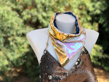 Iridescent White and Gold Snap Back Bandana