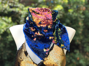 Mermaid Blue Iridescent Flip Sequin Scarf