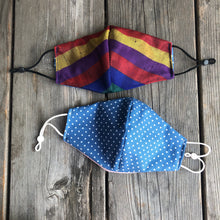 Rainbow Stripes Silk Print Fitted Mask with Reversible Lining.