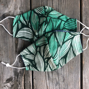 Green Leaves Print Fitted Mask with Reversible Lining.