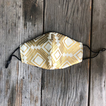 Gold Deco Print Fitted Mask with Reversible Lining.