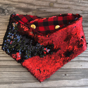Pet Bandana. Matte Red and Black Flip Sequin.