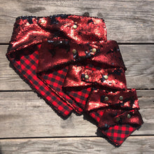 Pet Bandana. Matte Red and Matte Black Flip Sequin.