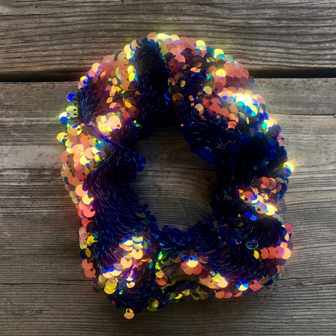 Scrunchie - Mermaid Blue Sequins