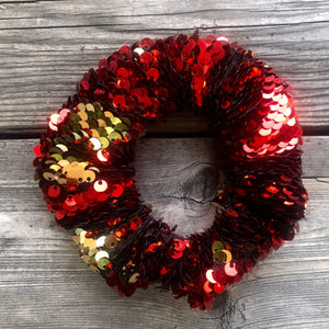 Red and Gold Flip Sequin Pleated Face Mask