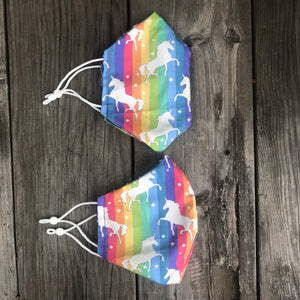 Rainbow Unicorn Fitted Mask