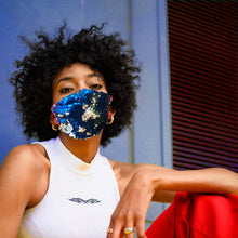 Silver and Blue Flip Sequin Pleated Face Mask