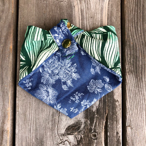 Green Leaves Print Pet Bandana.  Reversible.  Light weight. Double Snaps.