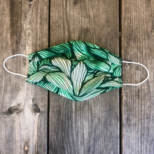 Green Leaves Print Pleated Mask