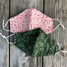 Pine and Ice Winter Holiday Cotton Mask.  Reversible custom lining.  Pleated or Fitted. 3 sizes. Loops or straps.