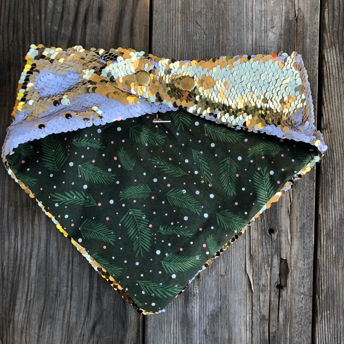 Green Pine and Pink Snow Lining Pet Bandana with Reversible Flip Sequins